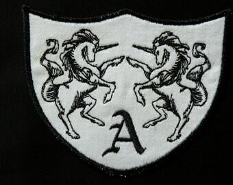 Unicorn Monogrammed Crest Iron on Patch