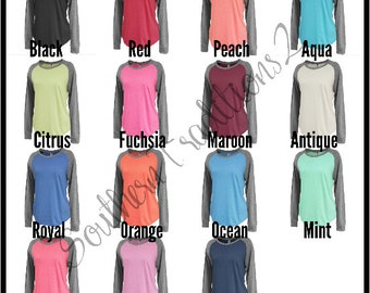 Monogram Raglan Tee - Monogrammed Raglan Shirt - Ladies Raglan Tee - Raglan Baseball Shirt