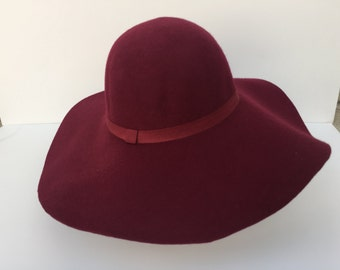 100 Percent  Wool Plain Floppy Sun Hat Maroon red (17 inches full length)