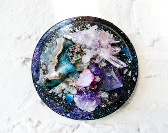 Wall Space Oddity - Crystal Galactic Explosion on Hanging Wood Plaque - One of a Kind Collection