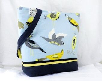 Medium Bird Bag, Shoulder Bag, Aviary Tote, Grey and Blue, Waverly Fabric, Large Tote Bag, Large Work Bag