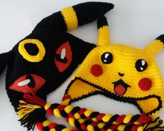 SET of 2 HATS,PIKACHU inspired hat and Umbreon inspired hat,kawaii clothing,halloween costume,adult hats,fun gifts,baby hats,toddler costume
