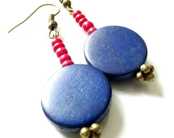 Handmade Red and Blue Wood Bead Dangle Statement Earrings