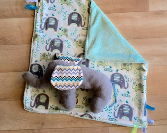 Elephant in mint snuggle comforter set