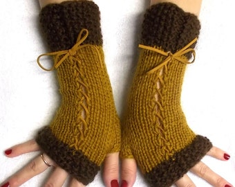 Knit Fingerless Gloves Wrist Warmers Brown Corset  with Suede Ribbons Victorian Style