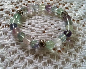 Handmade Genuine Rainbow Fluorite Bracelet, Natural Colorful Flourite Gemstone Stretch Bracelet,Meditation Healing Flourite Gemstone Jewelry