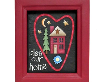 Bless our Home Sign, Tole or Hand Painted on Black Screen, Red House, Blue Flower, Heart Sign, Green Tree, Reclaimed Hand Crafted Wood Frame