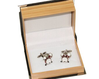Men's Drums Cufflinks and Gift Box ~ Novelty Formal Accessory