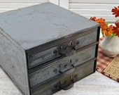 Industrial Tool Cabinet - metal drawer organizer - Vintage Storage Box
