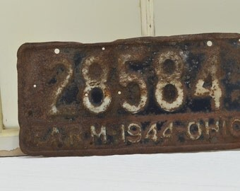Vintage Rustic License Plate - 1944 Ohio farm license plate - blue