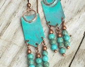 Blue Patina Boho Earrings with Copper and Turquoise Dangles