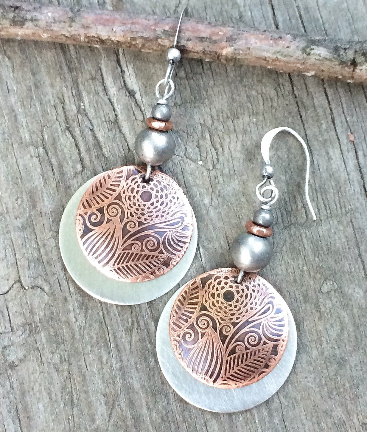 Mixed metal jewelry etched copper earrings dangle earrings for What metal is best for jewelry