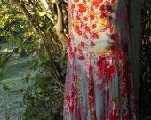 vintage floral maternity dress, upcycled alternative, adapatble size