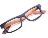 Takemoto  Mjx1601  Handmade Ebony And Cherry Wood Wooden Two Tone Eyeglasses