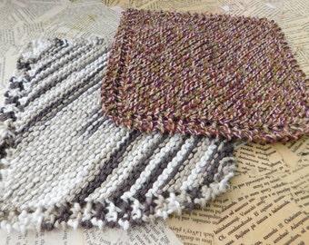 Cotton Knit Dishcloths   Set of Two, Brown, Cream Striped   Dishcloths   Vegan    Washcloths   Ecofriendly   Reusable   Natural