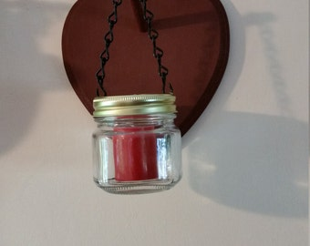 hanging heart candle holder