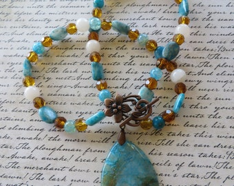 Crazy Lace Jasper Freshwater Shell Blue Agate and Crystal Beaded Necklace with Agate Pendant