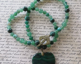 Green Aventurine Malachite and Agate Beaded Necklace with Green Agate Heart Pendant