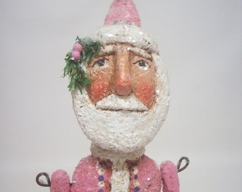 Pink Santa Paper Mache Primitive Folk Art