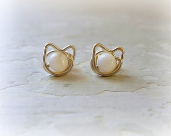 Small White Cat Stud, Gold Filled Posts, Pet Lover, Kitty Stud Earrings, Mother of Pearl Studs, Cat Jewelry, Kitty Cat, Cat Post Earrings