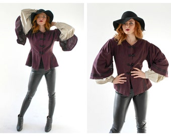 Bohemian Peasant Sleeve Jacket- S/M, Crimson, Steampunk Top, Merlot, Red, Oxblood Sweater, Renaissance Costume Poet Sleeve Free People LOT 2