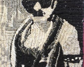 Mid Century Motorcycle Man Wool weaving Tapestry