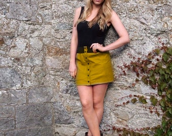 Mustard Moment, 1970s Mustard Yellow Leather Mini Skirt, French Vintage from Paris