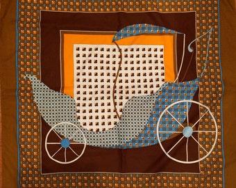 Retro Large Scarf Brown Blue White Gold Orange Vintage Stroller Car Carrousel