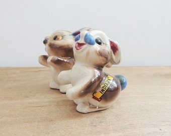 1950's Happy Bunnies Salt and Pepper Shakers // Indiana Tourist // Made in Japan