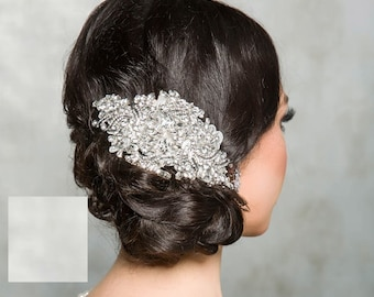 Vintage inspired lace and crystal headpiece