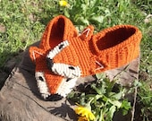 Fox Crochet Home Slippers, Unisex Slippers, House Shoes, Indoor Slippers, Gifts for Her, Gifts for Him