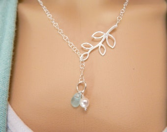 Lariat Necklace, GENUINE Aqua Sea Glass Jewelry, Beach Glass Necklace, Seaglass Necklace With Pearl, Sterling Silver Choice of Colors