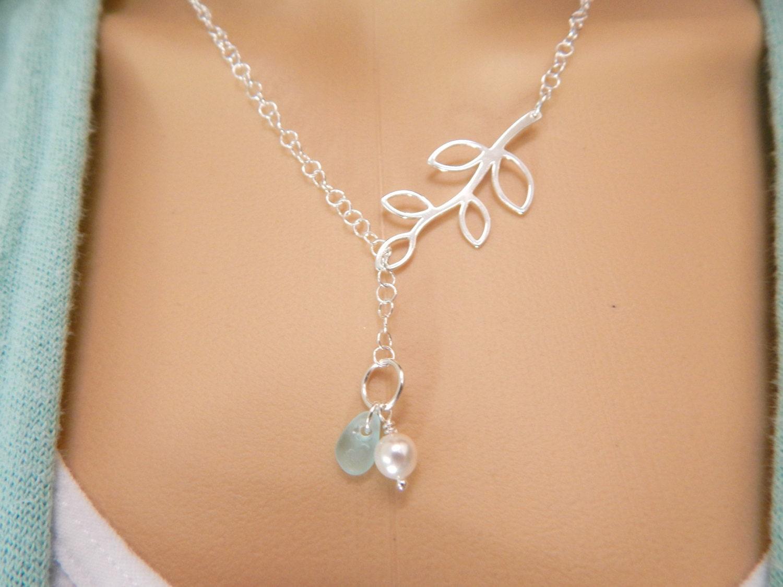 Lariat Necklace Genuine Aqua Sea Glass Jewelry Beach Glass