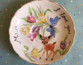 Mothers Day Number One Mum Flower Deer with Tulips Vintage Illustrated Plate