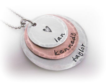 Mixed Metal 3 Disc Name Necklace Personalized Mommy Jewelry Hand Stamped Personalized Necklace Name Jewelry New Mom Gift Grandma Jewelry