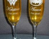 Toasting Champagne Flutes (Set of Two), with NAMES & DATES, Super Hero Couple (Choose 2 Heroes), Wedding Flutes, Celebration