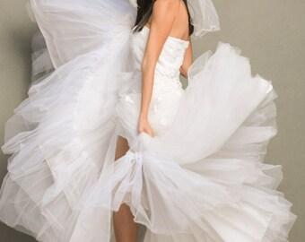 Big Gypsy Wedding Dress, White Wedding Bustle, Alternative Wedding, White Steampunk Bustle, One Of A Kind Wedding Dress,White Corset Skirt
