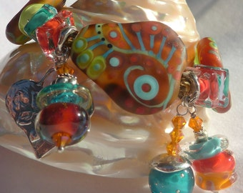 Lampwork Bracelet and Earrings,  PURE BLISS