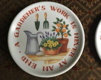 Set of 4 Melamaster Gardener's Coasters Great Britain Melaware Melamine