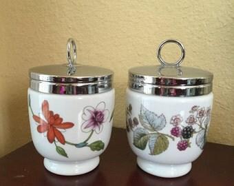 Royal Worcester floral egg coddler cups