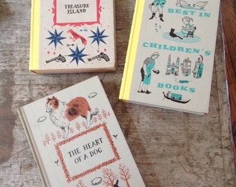 Vintage 1950's Junior Deluxe Editions Children's Books The Heart of a Dog Treasure Island