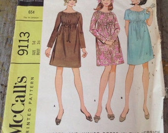 Vintage McCall's Sewing Pattern 9113 Misses' & Junior Dress Size 14 Bust 36
