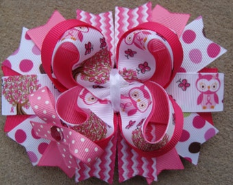 Pink Owl Hair bow hair Clip large hair bow Boutique hair bow girls hair bow baby hair bow large boutique hairbow