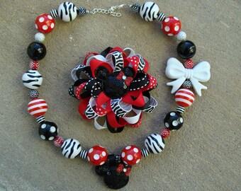 Gift set Chunky necklace and hair bow Disney Hair Bow Mickey Mouse Hair Bow Minnie Mouse Hair Bow Loopy Flower Hair Bow Zebra Hair Bow