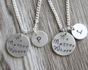 No Matter Where Necklace Set, Personalized Gifts, Hand Stamped Necklace, Initial, Friendship Gift, Distance Friendship Necklace Gift Set