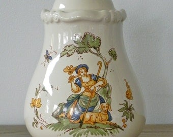 Vintage Ceramic China Pottery Covered Jar Vase lady With Dog From Country Home City Home.