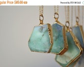VALENTINES SALE MINT /// Chrysoprase Necklace /// 24kt Gold Electroformed /// Layering, Natural, Stone, Bohemian