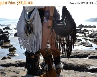 XMAS IN JULY Size 9 /// Nahimana Mystic /// Upcycled Embellished Vintage Moccasin Fringe Boot