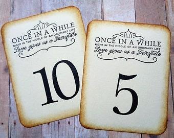 Fairytale Wedding Table Numbers Vintage Style