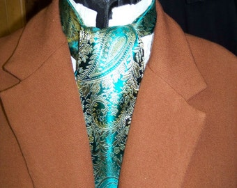 Cravat, In A Teal With a Gold and Lt. green Paisley Brocade Floral Pattern Fabric or Ascot Mens Victorian Tie
